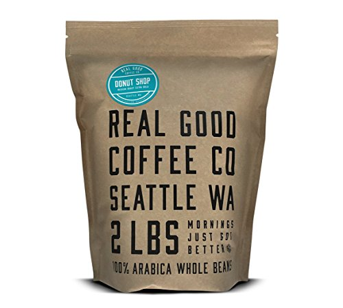 Real Good Coffee Co 2LB, Whole Bean Coffee, Donut Shop Medium Roast, 2 Pound Bag
