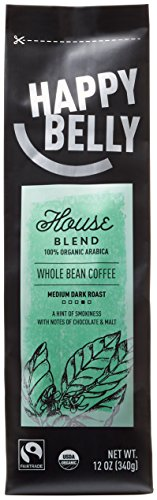Happy Belly House Blend Organic Fairtrade Coffee, Medium Dark Roast, Whole Bean, 12 ounce