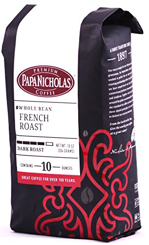 PapaNicholas Coffee Whole Bean Coffee, French Roast, 10 Ounce