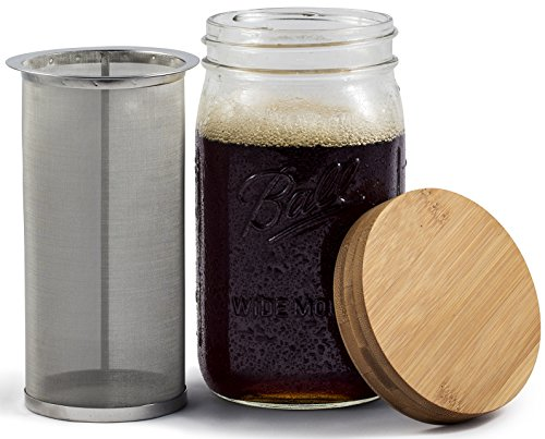 Mason Jar Cold Brew Coffee Maker & Iced Tea Maker | Quart (32oz) | Cold Brew System With Bamboo Lid & Stainless Steel Filter | by Simple Life Cycle