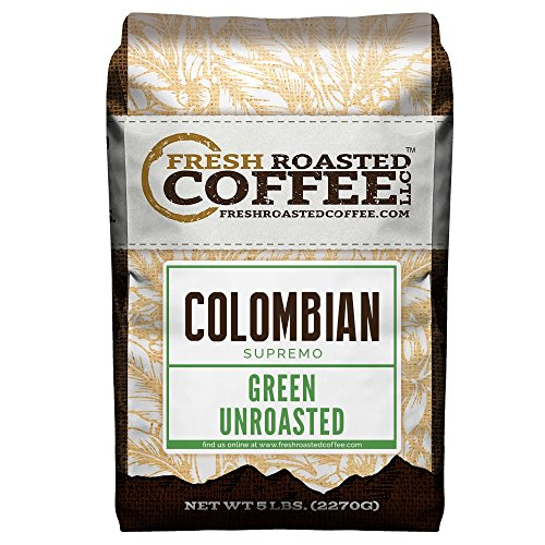 Green Unroasted Coffee, 5 Lb. Bag, Fresh Roasted Coffee LLC. (Colombian Supremo)