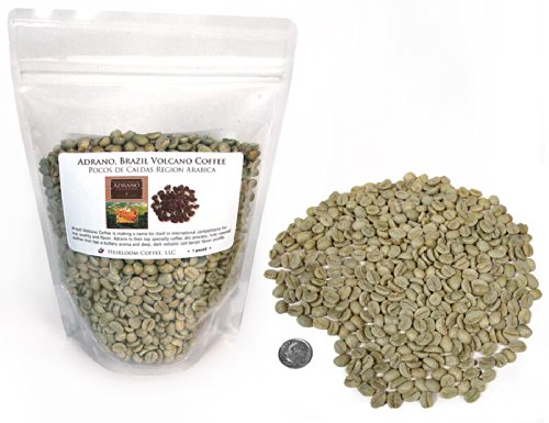 Brazil Adrano Volcano Coffee, Green Unroasted Coffee Beans (1 LB)