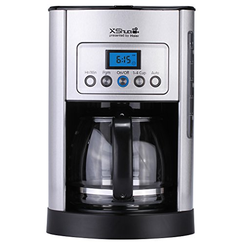 Haier 12-Cup Digital Thermal Coffee Maker Programmable Coffeemaker, Polished Stainless Steel Coffee Machine, Silver