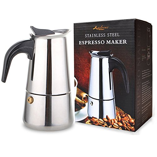 AMFOCUS Stovetop Espresso Maker Coffee Percolator Moka Pot, 2 Cup/100ml