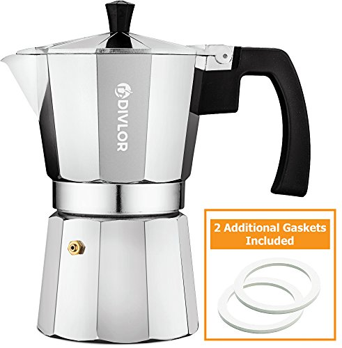 Divlor Stovetop Espresso Maker - Moka Pot, Aluminum Espresso Machine, 6 Cup, 2 Extra Gaskets Included