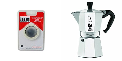 Bialetti 6800 Moka Express 6-Cup Stovetop Espresso Maker w/Replacement Gasket and Filter for 6 Cup
